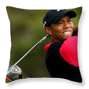 Tiger Woods Golf Throw Pillow by Lanjee Chee