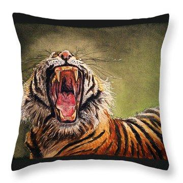 Tiger Yawn Throw Pillow