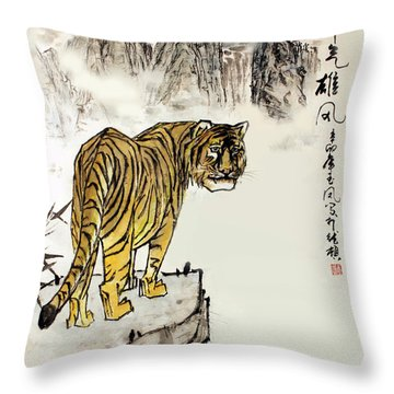 Tiger Throw Pillow by Yufeng Wang