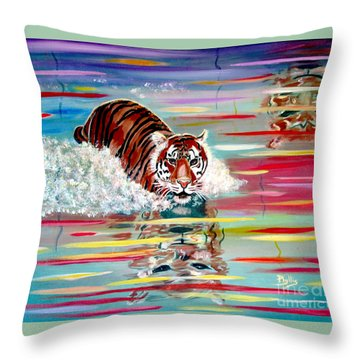 Throw Pillow featuring the painting Tigers Crossing by Phyllis Kaltenbach