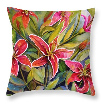 Tigers In My Garden Throw Pillow
