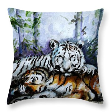 Throw Pillow featuring the painting Tigers-mother And Child by Harsh Malik