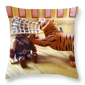 Throw Pillow featuring the photograph Tiger's Revenge by Marc Philippe Joly