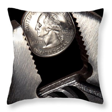 Tightening The Budget Throw Pillow by Olivier Le Queinec
