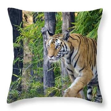 Tiger International Day Throw Pillow by Pravine Chester