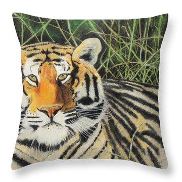 Throw Pillow featuring the painting Tigress by Jeanne Fischer