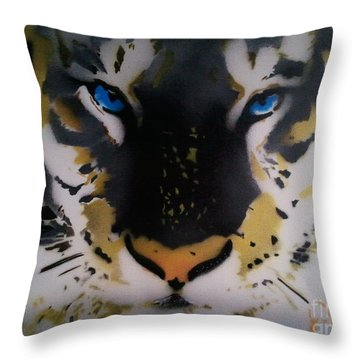 Tigrrr 2 Throw Pillow by Barry Boom