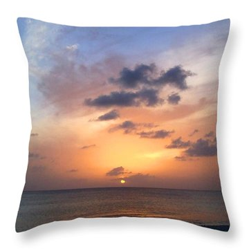 Tiki Beach Caribbean Sunset Throw Pillow