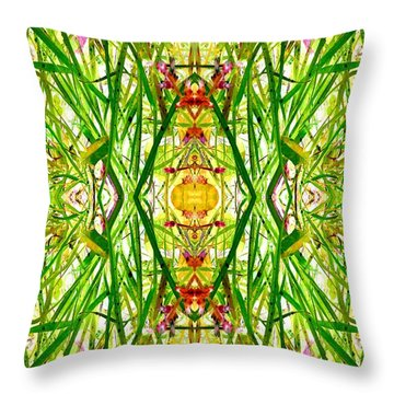 Throw Pillow featuring the photograph Tiki Idols In The Grass  by Marianne Dow