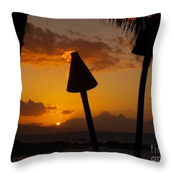 Tiki Time In Maui Throw Pillow