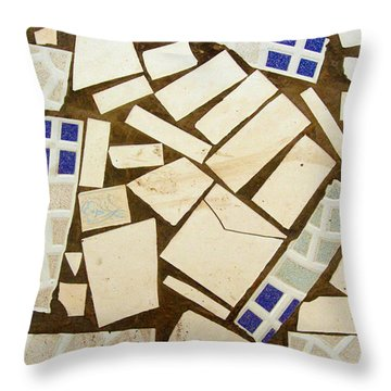 Tile Pieces In Brown Grout Throw Pillow