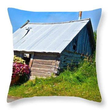 Tilted Shed In Old Town Kenai-ak Throw Pillow by Ruth Hager