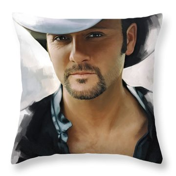 Throw Pillow featuring the painting Tim Mcgraw Artwork by Sheraz A