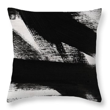 Timber 2- Horizontal Abstract Black And White Painting Throw Pillow