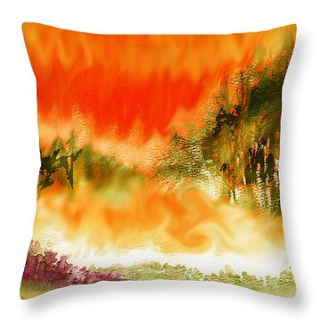 Throw Pillow featuring the mixed media Timber Blaze by Seth Weaver