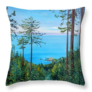 Timber Cove On A Still Summer Day Throw Pillow by Asha Carolyn Young