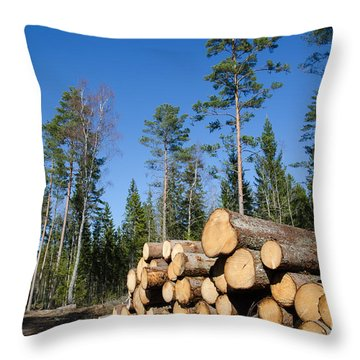Timber Stack Of Whitewood Throw Pillow