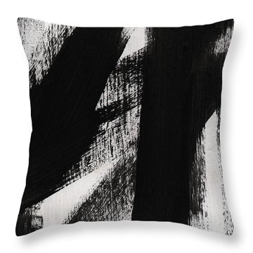 Timber- Vertical Abstract Black And White Painting Throw Pillow