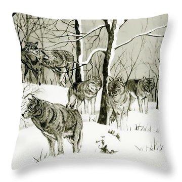 Timber Wolf Pack Throw Pillow
