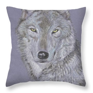 Timber Wolf Portrait Throw Pillow