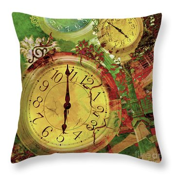 Time 6 Throw Pillow by Claudia Ellis