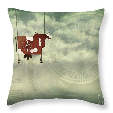 Time Flies Throw Pillow by Jutta Maria Pusl