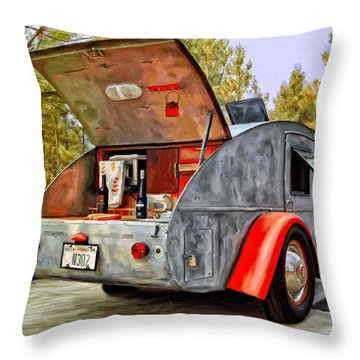 Time For Camping Throw Pillow