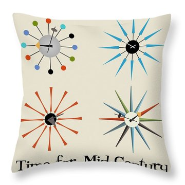 Time For Mid-century Throw Pillow