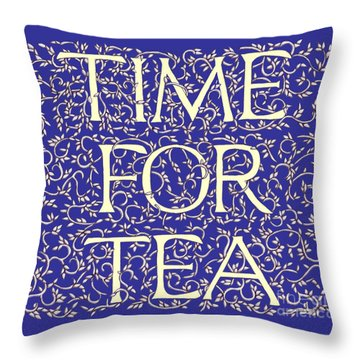 Throw Pillow featuring the drawing Time For Tea Royal Blue by Donna Huntriss