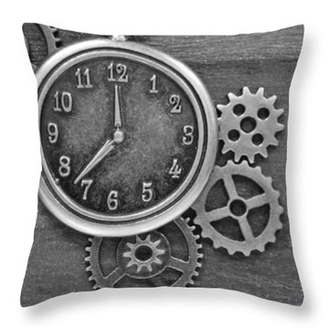 Time In Black And White Throw Pillow
