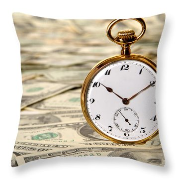 Time Is Over Money Throw Pillow by Olivier Le Queinec