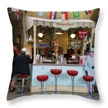 Time Out Snack Bar In Bath England Throw Pillow by Jack Schultz