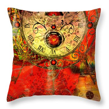 Time Passes Throw Pillow by Ally  White