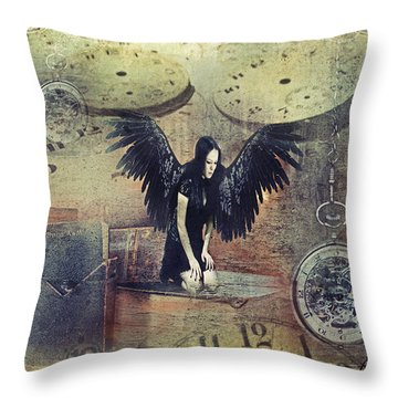 Time Throw Pillow by Riana Van Staden