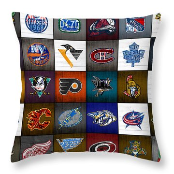 Time To Lace Up The Skates Recycled Vintage Hockey League Team Logos License Plate Art Throw Pillow