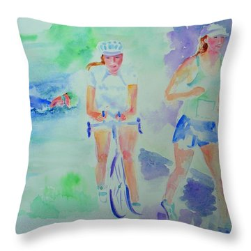 Time To Tri Throw Pillow by Sandy Ryan