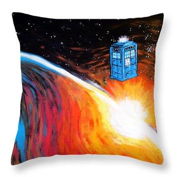 Time Travel Tardis Throw Pillow by Jera Sky