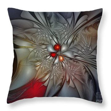 Timeless Elegance-floral Fractal Design Throw Pillow