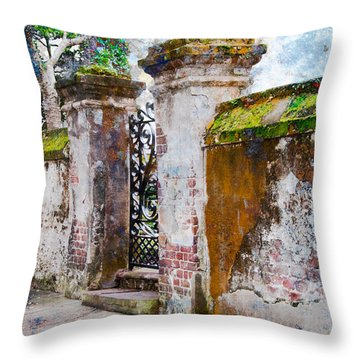 Brick Wall Charleston South Carolina Throw Pillow