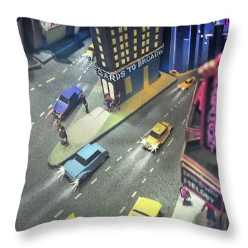 Times Sq. At Night Throw Pillow