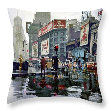 Times Square 1943 Reloaded Throw Pillow