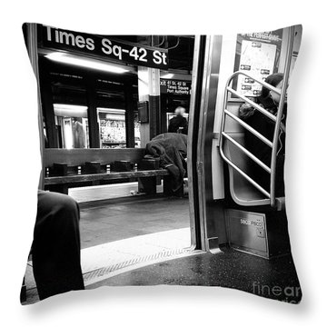 Throw Pillow featuring the photograph Times Square - 42nd St by James Aiken