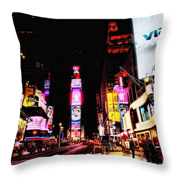 Times Square Throw Pillow by Andrew Paranavitana