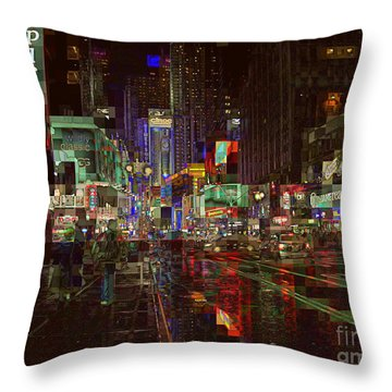 Times Square At Night - After The Rain Throw Pillow by Miriam Danar