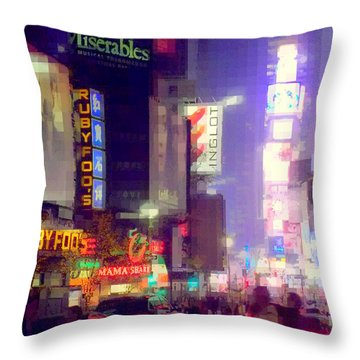 Times Square At Night - Columns Of Light Throw Pillow by Miriam Danar