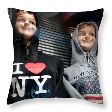 Times Square Kids Throw Pillow by Ed Weidman