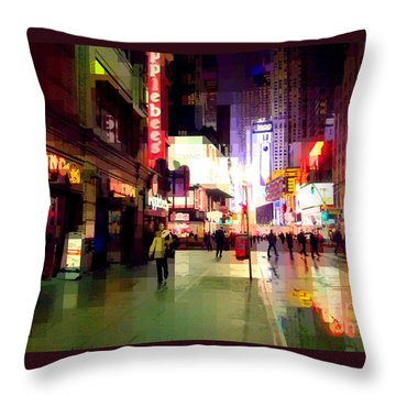 Times Square New York - Nanking Restaurant Throw Pillow by Miriam Danar
