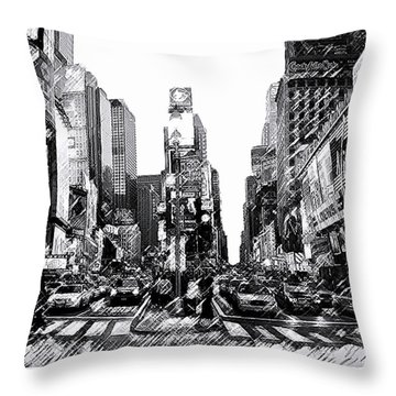 Times Square   New York City Throw Pillow by Iconic Images Art Gallery David Pucciarelli