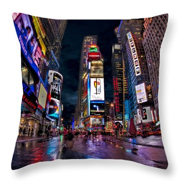 Times Square New York City The City That Never Sleeps Throw Pillow by Susan Candelario