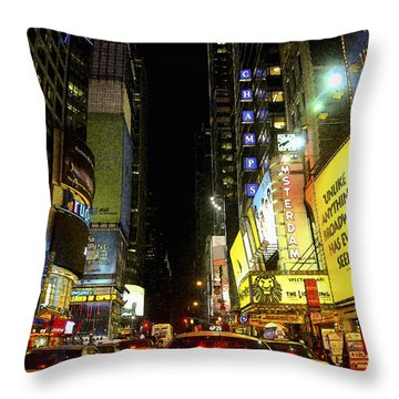 Times Square Photofresco Throw Pillow by Joseph Hedaya